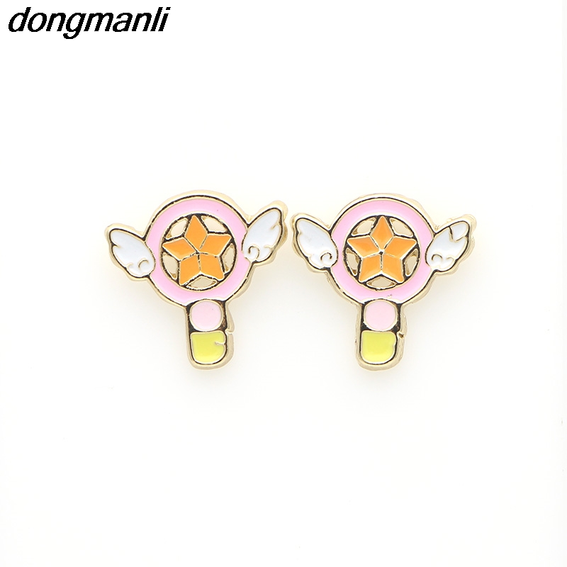 P1238 Dongmanli fashion jewelry metal enamel angel wing star heart Card Captor Sakura Stud earring for women Dropshipping