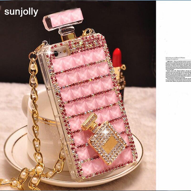 bilder für Sunjolly 3D Kette Diamant Fall Strass Bling Telefon fundas coque für Samsung Galaxy S7 S6 Rand Plus S5 S4 Hinweis 5 4 3