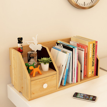 LK613 Simple Desktop Storage Rack Exquisite Workmanship Wooden Cosmetics Organizer with Drawer Portable Mini Bookcases