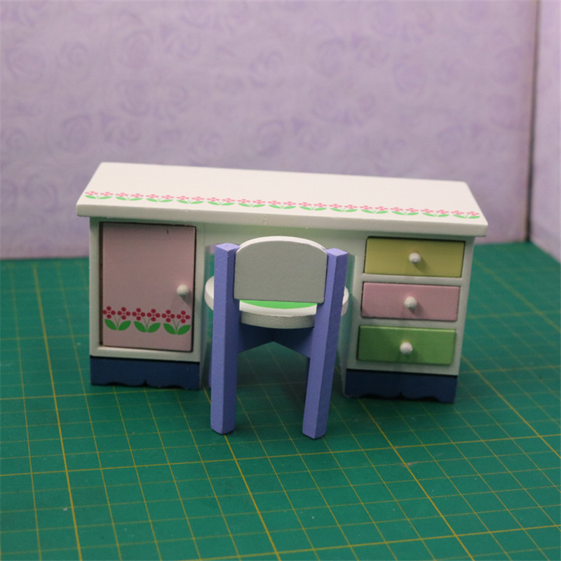 1:12 Wooden Miniature simulation desk chair model for dolls Dollhouse Furniture toy pretend play toys for girls kids gifts cute