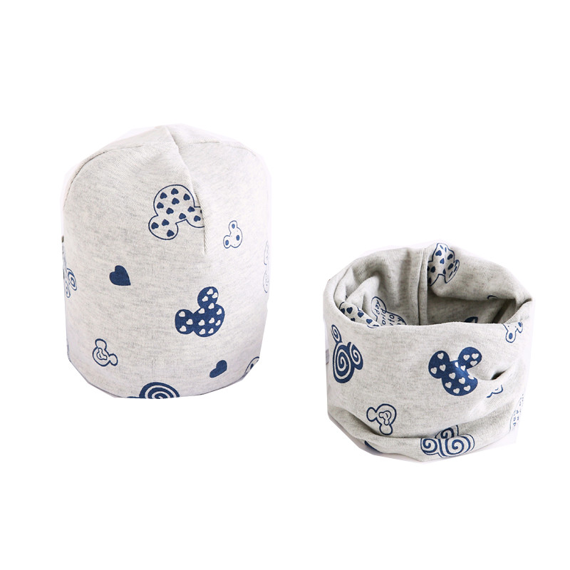 Cotton Plush Girls Hat Scarf Set Cartoon Sheep Owl Stars Baby Boys Hat Winter Children Hats Scarf-Collar Set Cotton Kids Hat Set
