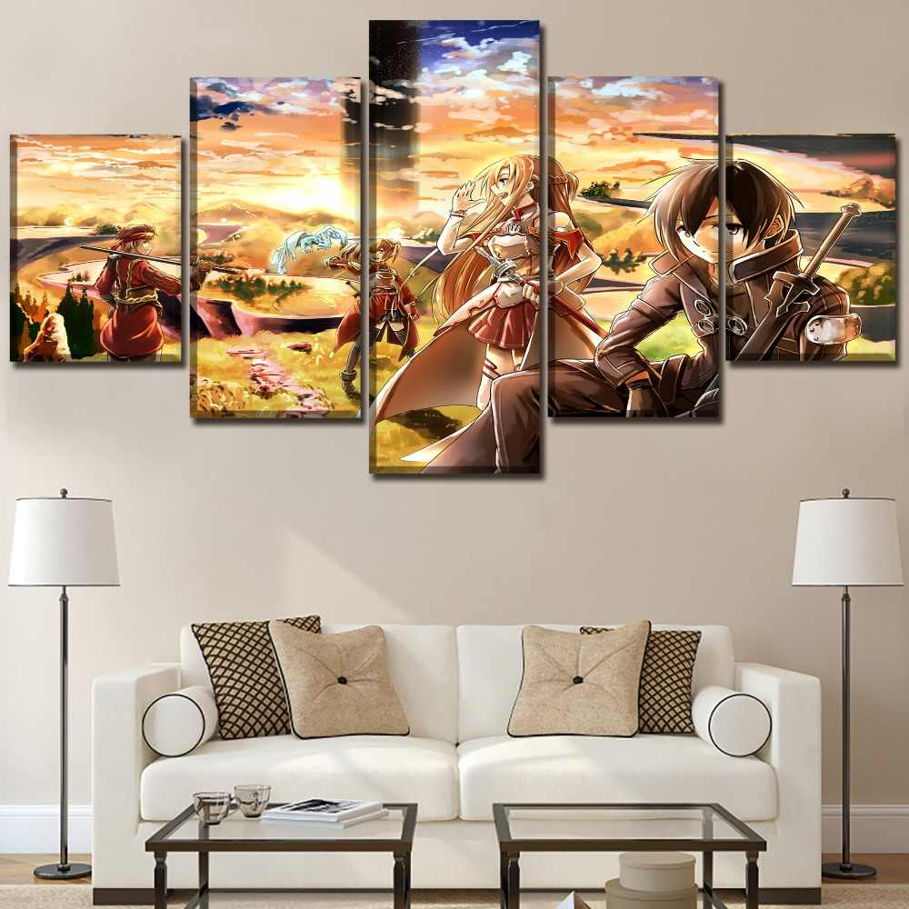 Detail feedback questions about 5 panel anime sword art online poster modern canvas printed pictures wall art home decoration painting on canvas artwork on