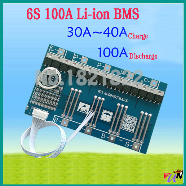 6S 100A 22 2V li ion BMS PCM battery protection board bms pcm for LicoO2 Limn2O4