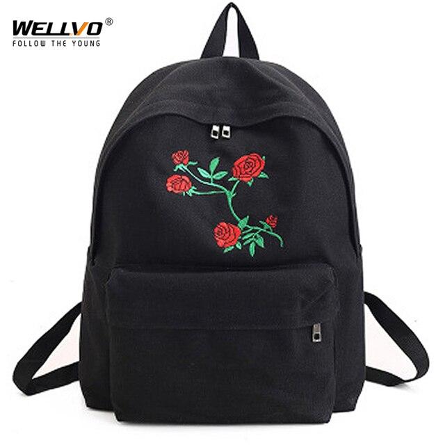 Wellvo Canvas Backpack Cute Women Rose Embroidery Backpacks Teenagers  Women s Travel Bags Mochilas Rucksack School Bag XA1918C ac5c3d3c93