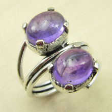 Wonderful Amethysts Claw Ring Size US 5.75 ! Silver Plated Metal Jewellery NEW India Jewelry(China)