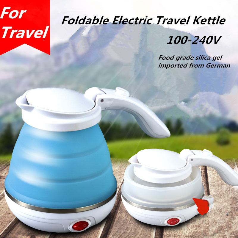 100-240V Mini Foldable Travel Kettle Electric Portable Water Kettle Small Capacity 0.5L Travel Electric Tea Pot new arrival portable travel abroad electric kettle 0 5l mini electric kettle wst 0903 european travel kettle 110 240v 550 650w
