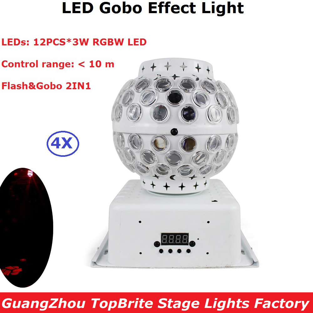 4Pcs/Lot Remote Control Crystal Magic Ball Light 12X3W RGBW 4IN1 Rotation Swing Gobo Effect Lights Holiday Decoration Equipments newest magic ball lights 2pack 12x3w rgbw 4in1 led gobo effect lights for party disco dj christmas lighting shows fast shipping