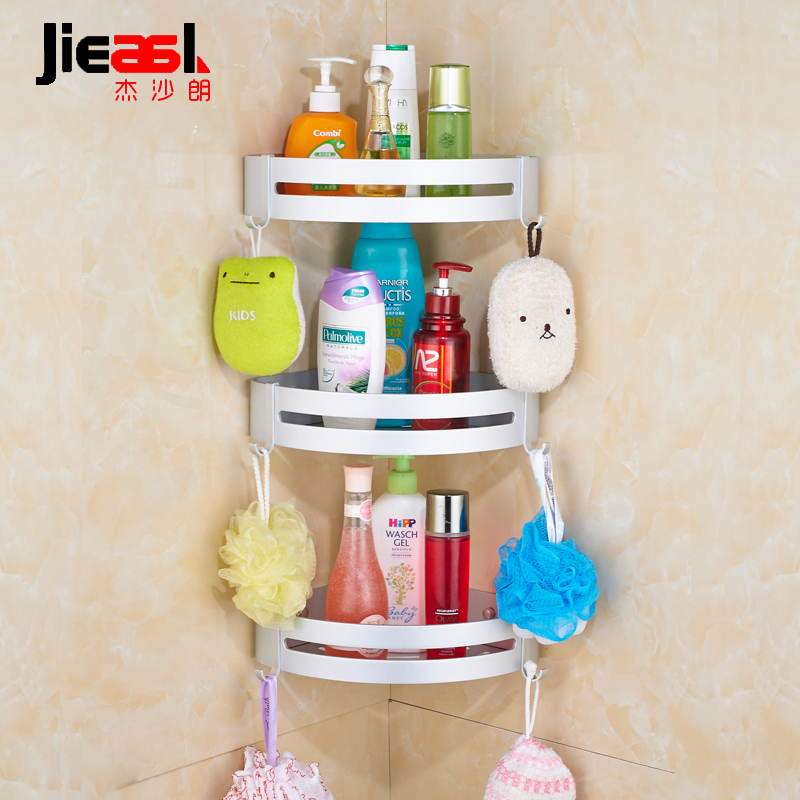 Space Aluminum Bathroom Corner Shelf Silver Double Layers Cosmetic ...