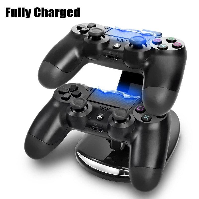 Realmente de alta qualidade Dual USB Controlador de Jogo ps4 controlador charger Doca Suporte para Sony Play Station 4 PS4 Jogos Acessórios
