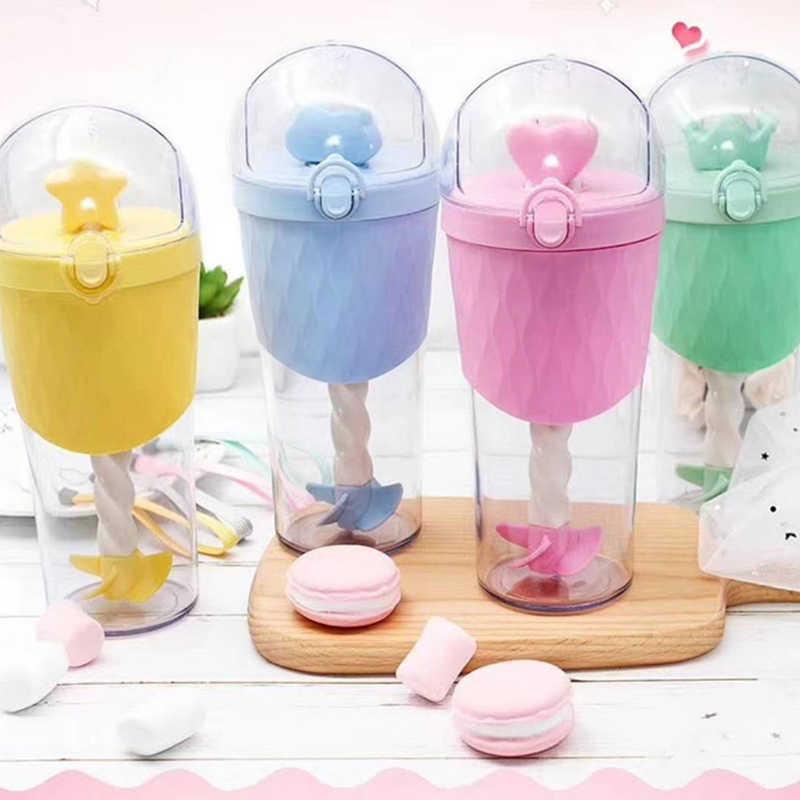 Детская чашка для смешивания с соломинкой, 500 мл, милая бутылка для сока воды с мультяшным принтом, для детей, для напитков, воды, креативный подарок на день рождения