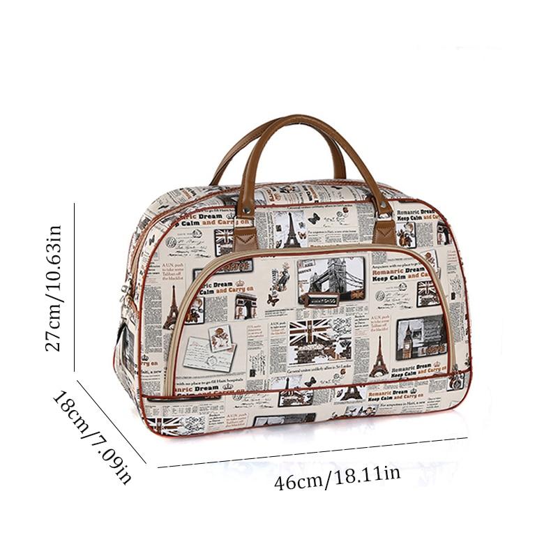 Women Waterproof Travel Bag Summer Style PU Leather Women Bag Travel Duffel Bag Tower Beauty Lady Print Luggage Duffle B