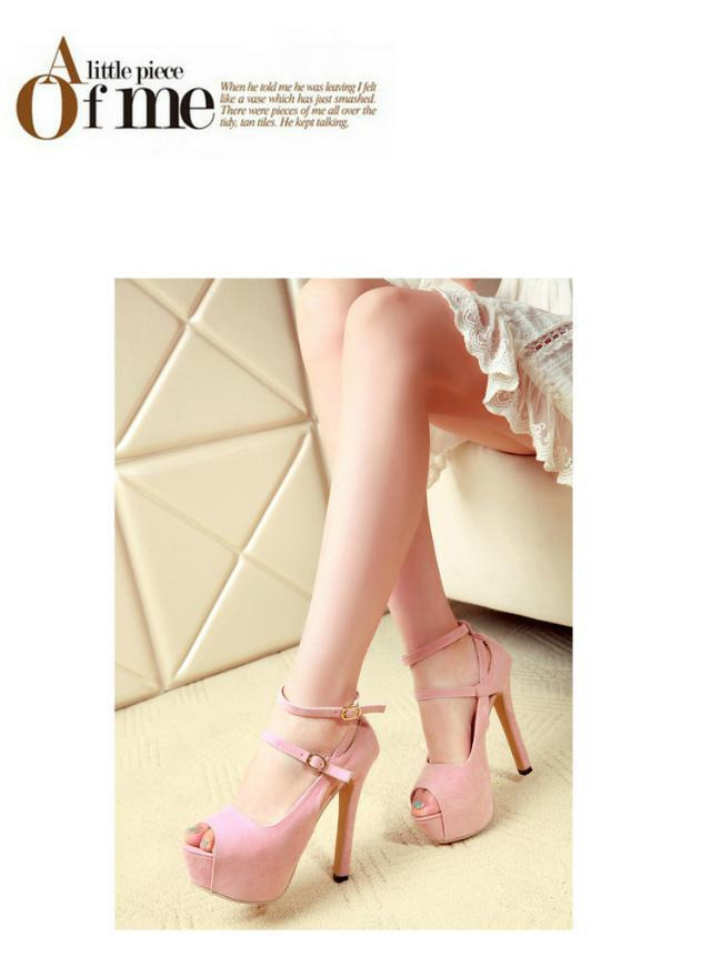 New Sexy Peep Toe Thin Heels Women Pumps Suede Platform Ankle Strap Pumps Wedding Party Shoes Pumps For Women 4