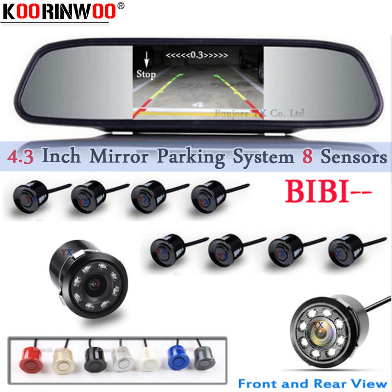 Koorinwoo Parking Parking Sensor 8 Redars BIBI Alarm Sound Parktronic Monitor Mirror LCD TFT Front Form Camera Car Rear View Camera