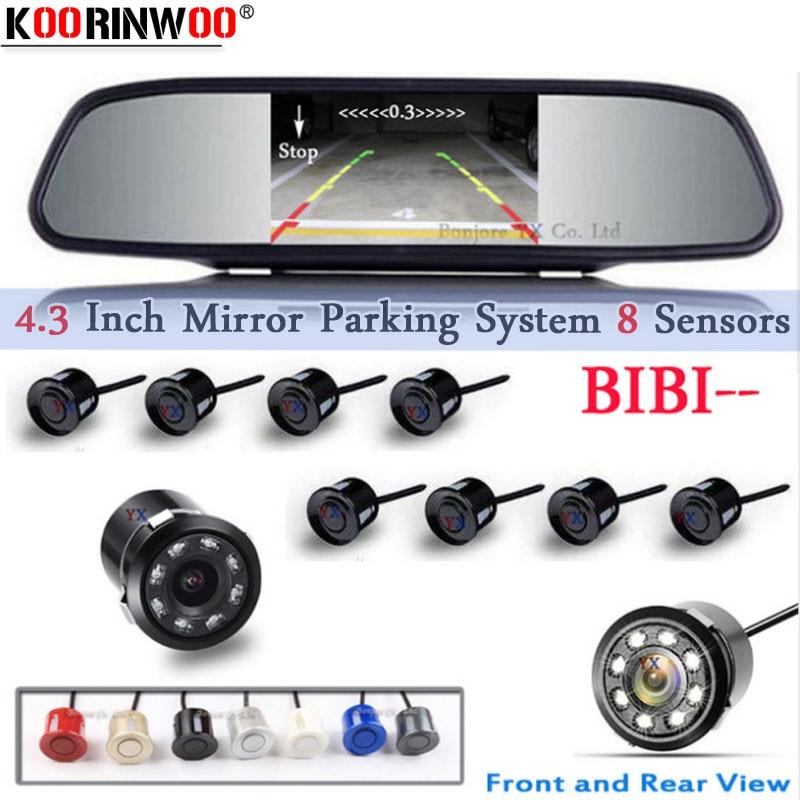 Koorinwoo auto parkimisandur 8 Redars BIBI äratuse heli Parktronic monitor peegel LCD TFT esikaamera kaamera auto tagantvaade