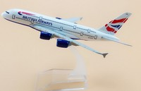 plane model Boeing A380 British Airways aircraft A380 16cm Alloy simulation airplane model for kids toys Christmas gift