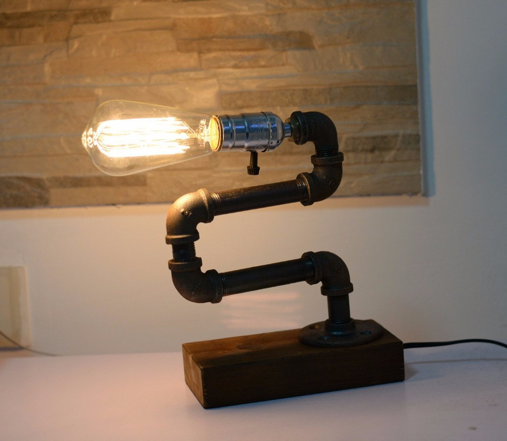 Loft wohnzimmer designer lifestyle flaschenhalter rohr schreibtisch licht top tischlampe führte antiken stahl rohrleitungen retro nostalgischen