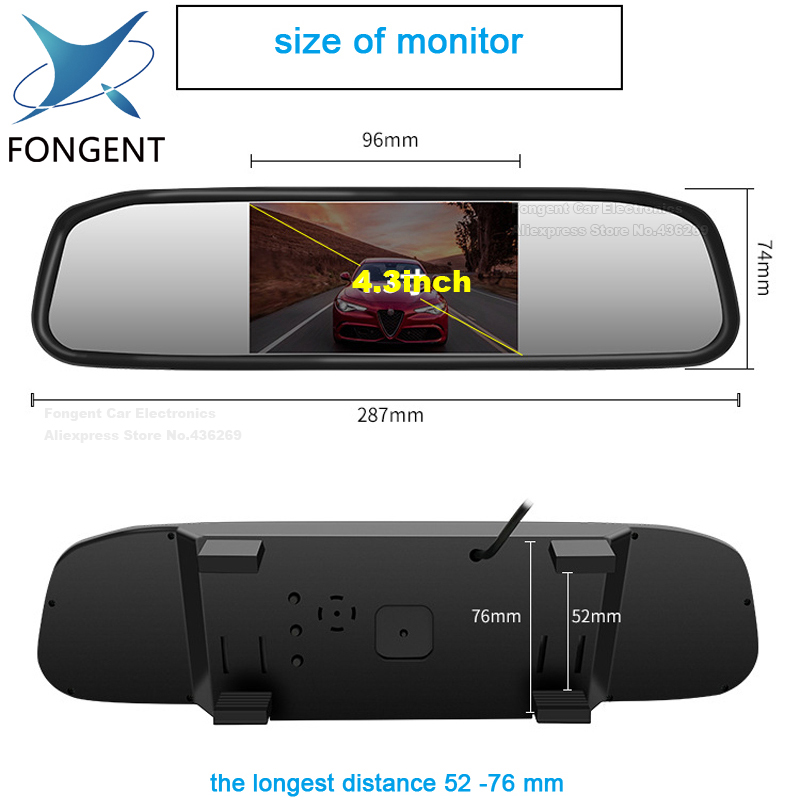 TFT-LCD-Video-Input-Car-Rear-View-Mirror-Monitors-With-8-led-EU-License-Plate-Frame-RearView-Reversing-Backup-Camera