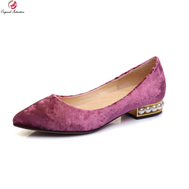 Original Intention Quality Women Flats Stylish Pointed Toe Flat Shoes Nice Black Blue Red Purple Ladies Shoes Woman US Size 3-9 цены онлайн