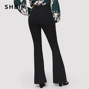 Image 3 - SHEIN Schwarz Elegante Büro Dame Elastische Taille Flare Saum Hosen Casual Solide Minimalistischen Hosen 2019 Frühling Frauen Hosen Hosen