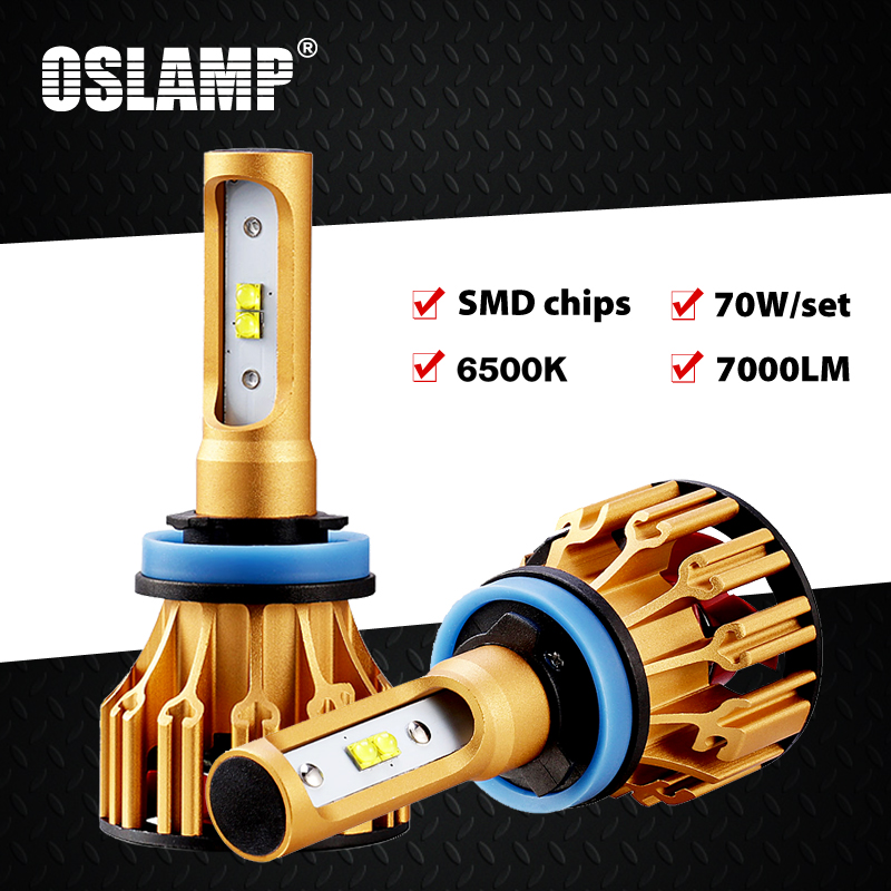 Oslamp T6 Series H4 Led Headlight for Car 6500K SMD Chips 9005/HB3 9006/HB4 Led H7 Car Bulbs 70W All-in-one H11 Led Fog Lamps 2x