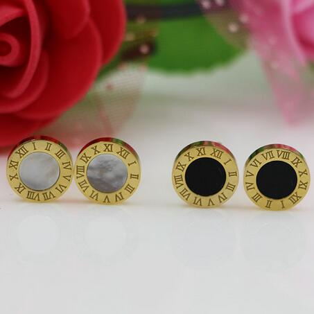 Zlaté náušnice z nerezové oceli pro muže a ženy orecchini, římská čísla kulaté černé náušnice pánské přívěsky