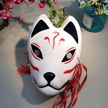Fox Mask Cosplay Japanese PVC Cat Mask Fox Masquerade Party Festival Kabuki Cosplay Fox Masks Costume Full Face Fox Mask Unisex фото
