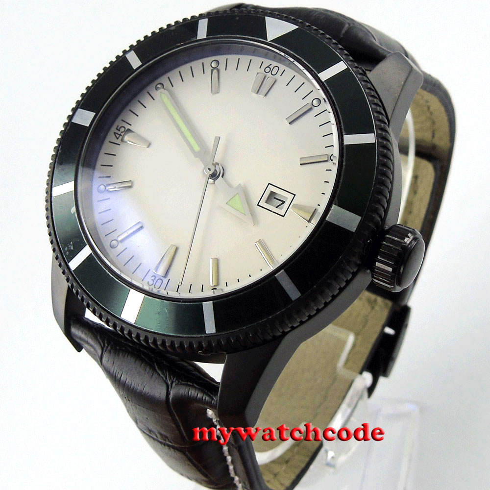 46mm white dial luminous marks date PVD case automatic mens watch B19 цена и фото