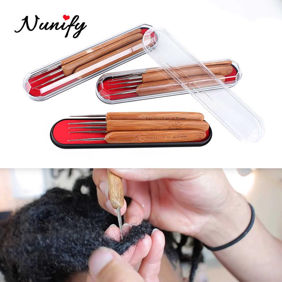 0,5 мм 0,75 мм стальные иглы дредлок 3 шт./компл. крючок крючком бамбуковая ручка для плетения волос иглы для вязания крючком дредлок инструменты для косичек