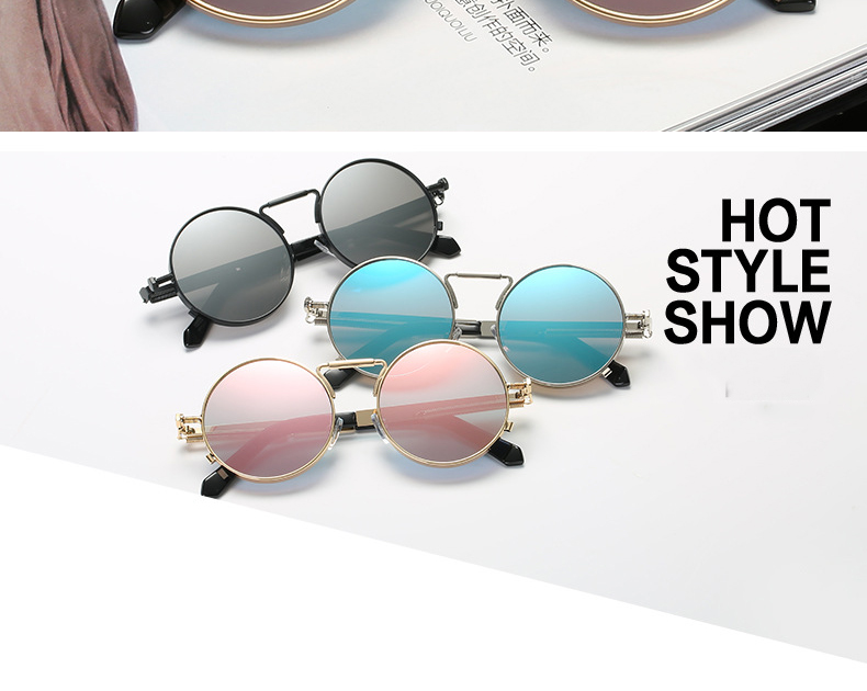 9f5c02b56 Mirror Rose Gold Steampunk Sunglasses Luxury Brand Sun Glasses For Women  Pink Round Girls Shades Ladies Eyewear sonnenbrille. -1_01 -1_02 ...