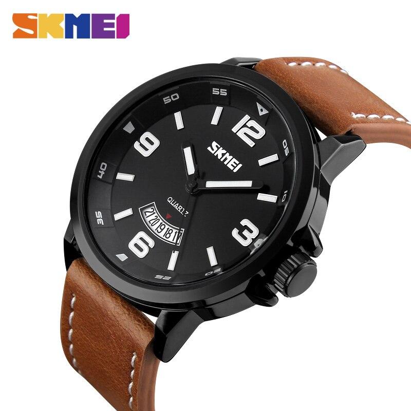 SKMEI 2018 Top Reloj Men Quartz Watch Nagy tárcsázás katonai bőr zenekar Sport órák karóra Relogio Masculino 9115