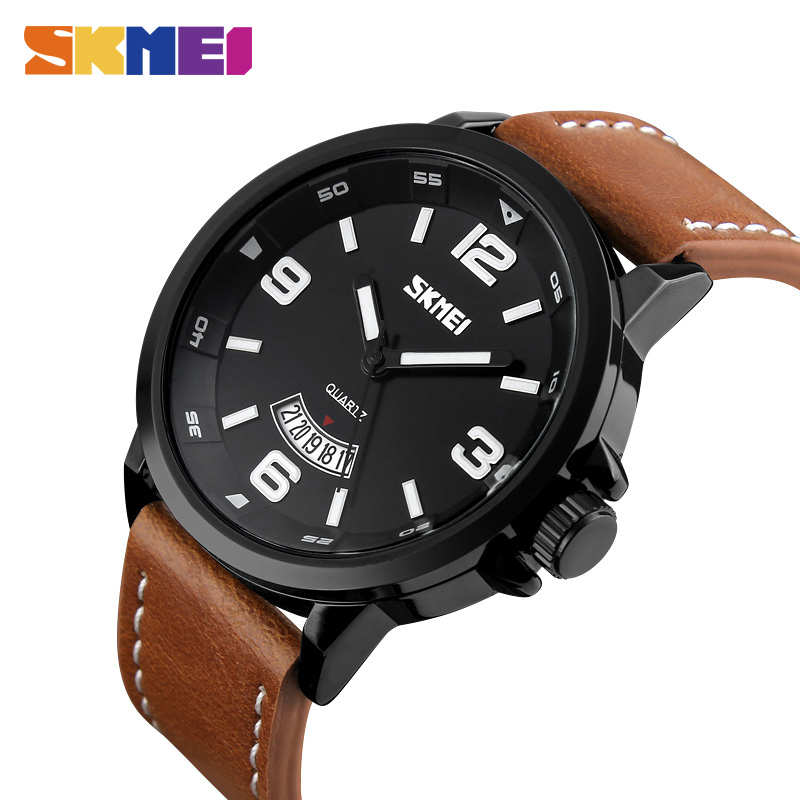 SKMEI Men Sport Watches 30M Water Resistant Leather Quartz Wristwatches Luxury brand Fashion Casual Watch Relogio Masculino 9115 fishing joy every day 480g