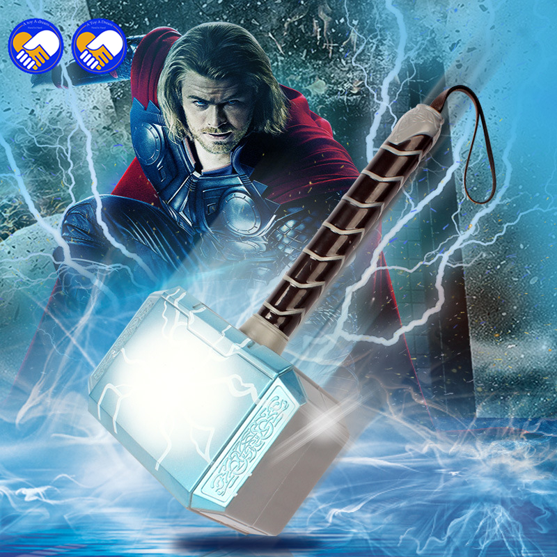 цена на A toy A dream Avengers Thor's Hammer Toys Thor Custome Thor LED Light music Cosplay Hammer stage property Kids Gift