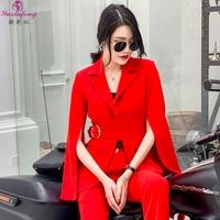 Yuxinfeng 2019 Spring Pants Suit Women Elegant Office Ladies 2 Piece Set Fashion Batsleeve Blazer+ Ankle Pants Sets White Red