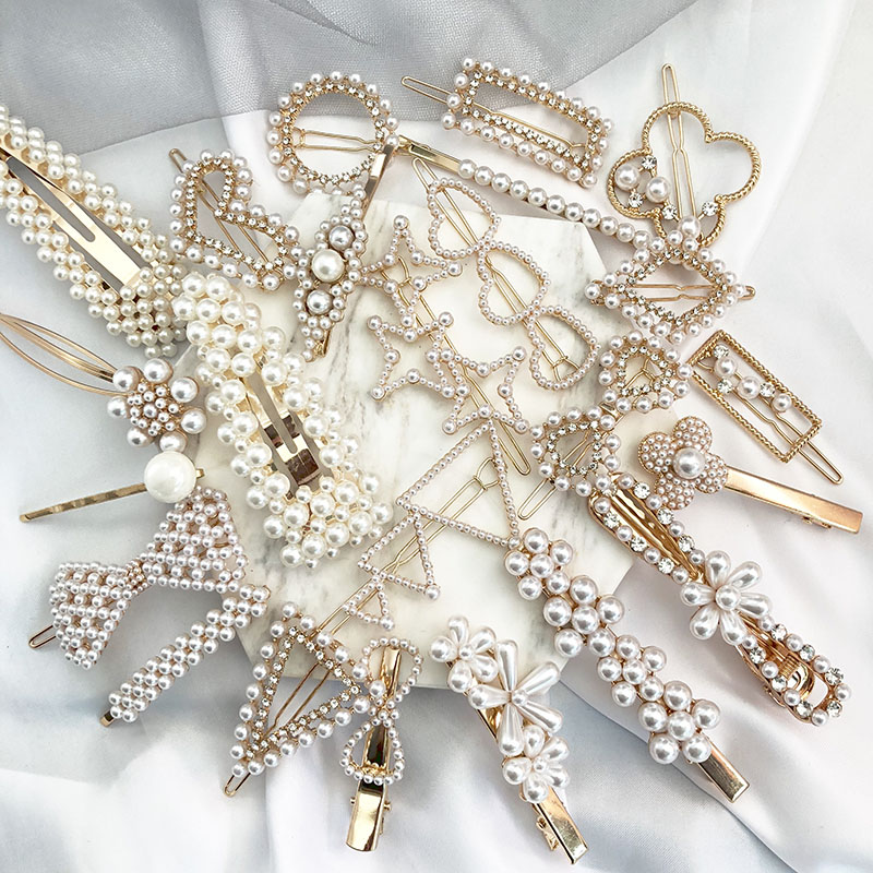 US $0.98 22% OFF|FASHIONSNOOPS New Arrival  Elegant Jewelry Hair Grips Pearl Snap Barrette Hair Clips Fashion Women Stick for Women Ladies-in Hair Jewelry from Jewelry & Accessories on AliExpress - 11.11_Double 11_Singles
