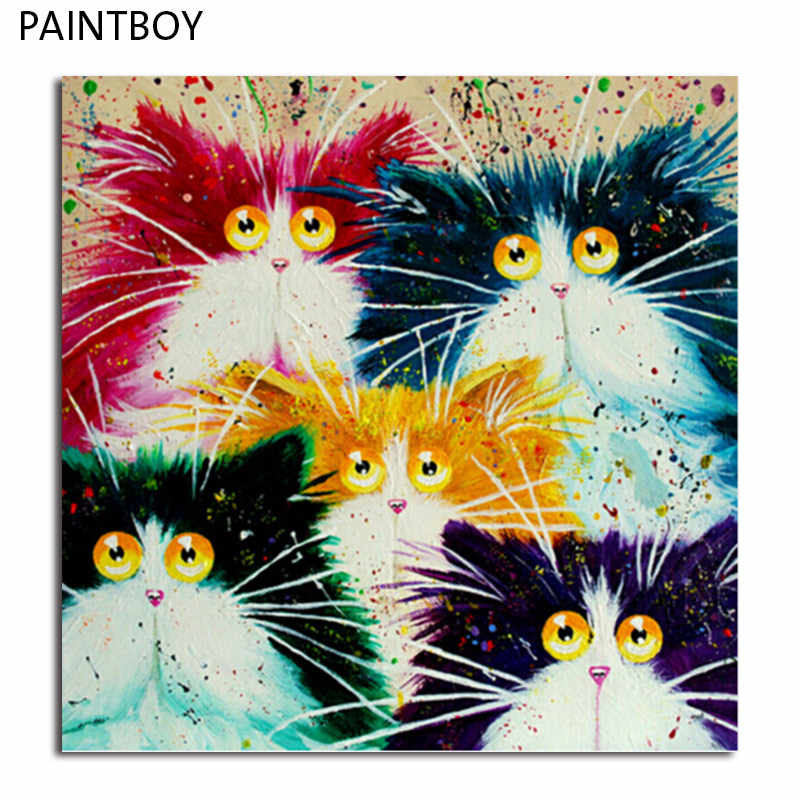 PAINTBOY Framed Picture Painting By Numbers DIY Oil Painting On Canvas Of Cat Home Decoration For Living Room GX4039 40*50cm