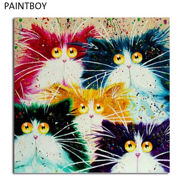 PAINTBOY Retrato Emoldurado Pintura By Numbers DIY Pintura A Óleo Sobre Tela De GX4039 Gato Casa Decoração Para Sala de estar 40*50 cm