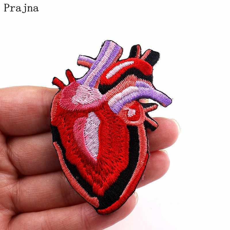 Prajna Heart Decoration Iron On Patch Red Hearts Stripes On Clothes Jackets DIY T-Shirt Stranger Things Embroidered Sticker