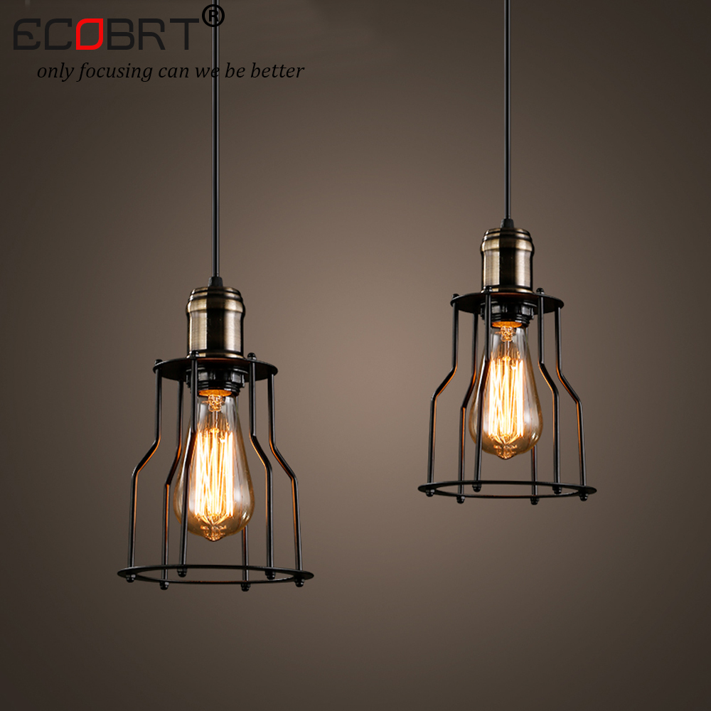 ECOBRT NEW Modern style indoor lights Vintage Pendant Lights for Dinging room LED E27 Bulb iron lampshade lighting Fixtures