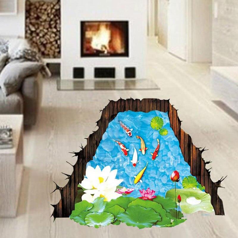 Neueste 3D Lotus Teich Boden Aufkleber Wasserdicht Vinyl Fisch  Wandaufkleber Für Wc Bad Kunst Wand Selbstklebende