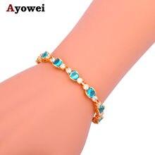 Женские браслеты с цирконием небесно голубого цвета tbs989a