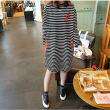 5388ffc043b28 MODENGYUNMA Maternity Dresses New Autumn Maternity Clothes Boat Neck Long  Section Pregnancy Clothes Stripe Large Size