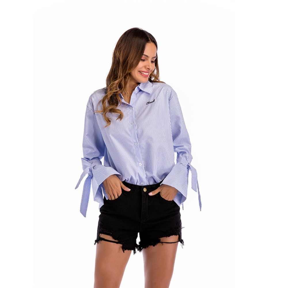 Рубашка с длинными рукавами для женщин, новая полосатая блузка для лацкана галстука с бантом, рукава-трубы, свободные рубашки, осенняя женская одежда