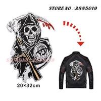 Zoon van Anarchy Ijzer-Patches Biker voor Motorfiets Ghost Rider Tas Punk Hoed naai SOA patch Grote Strijken Vest Jacket stickers