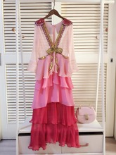Fashion women's V neck bowknot layered dress  Spring summer runways elegant Chiffon dress A150