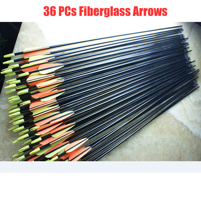 36pcs/Set Spine 500 Target Practice Steel Point 30 inches Fiberglass Arrows 30-80lbs Archery Arrows for Hunting Compound Bow цена 2017