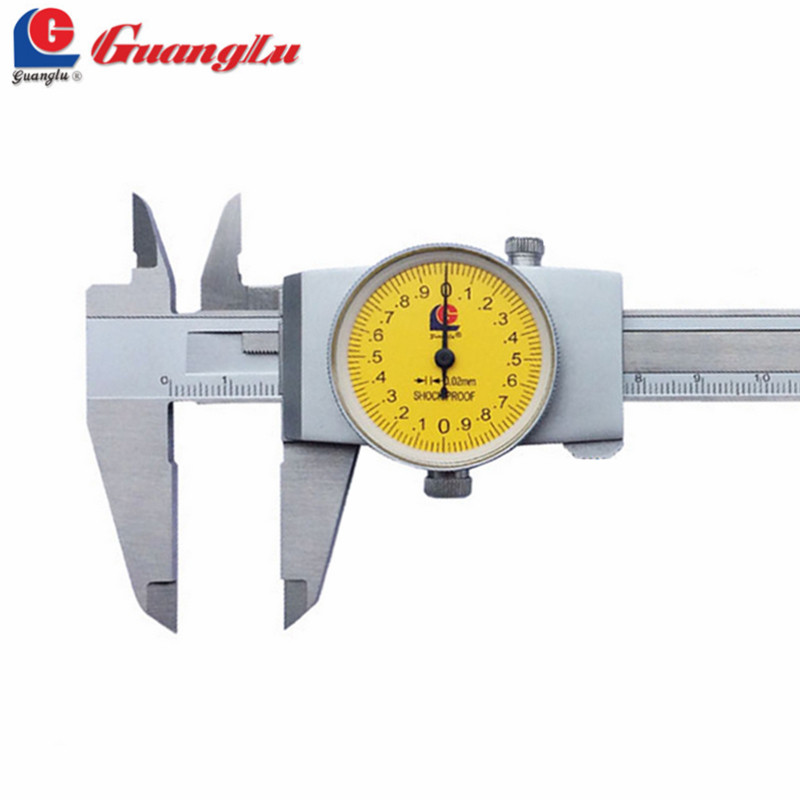 GUANGLU Dial Caliper 0-150/0-200/0-300mm/0.02 Vernier Caliper Gauge Calipers Paquimetro Ferramentas Measuring Tools guanglu digital internal groove caliper 8 150mm 0 01mm stainless steel micrometer paquimetro measuring tools gauge ferramentas