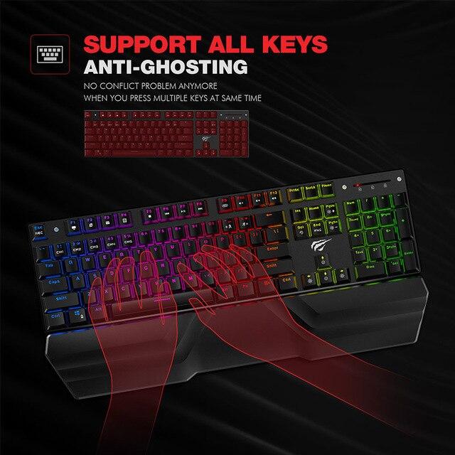 HAVIT Mechanical Keyboard 87/104 keys Blue or Red Switch Gaming Keyboards 4