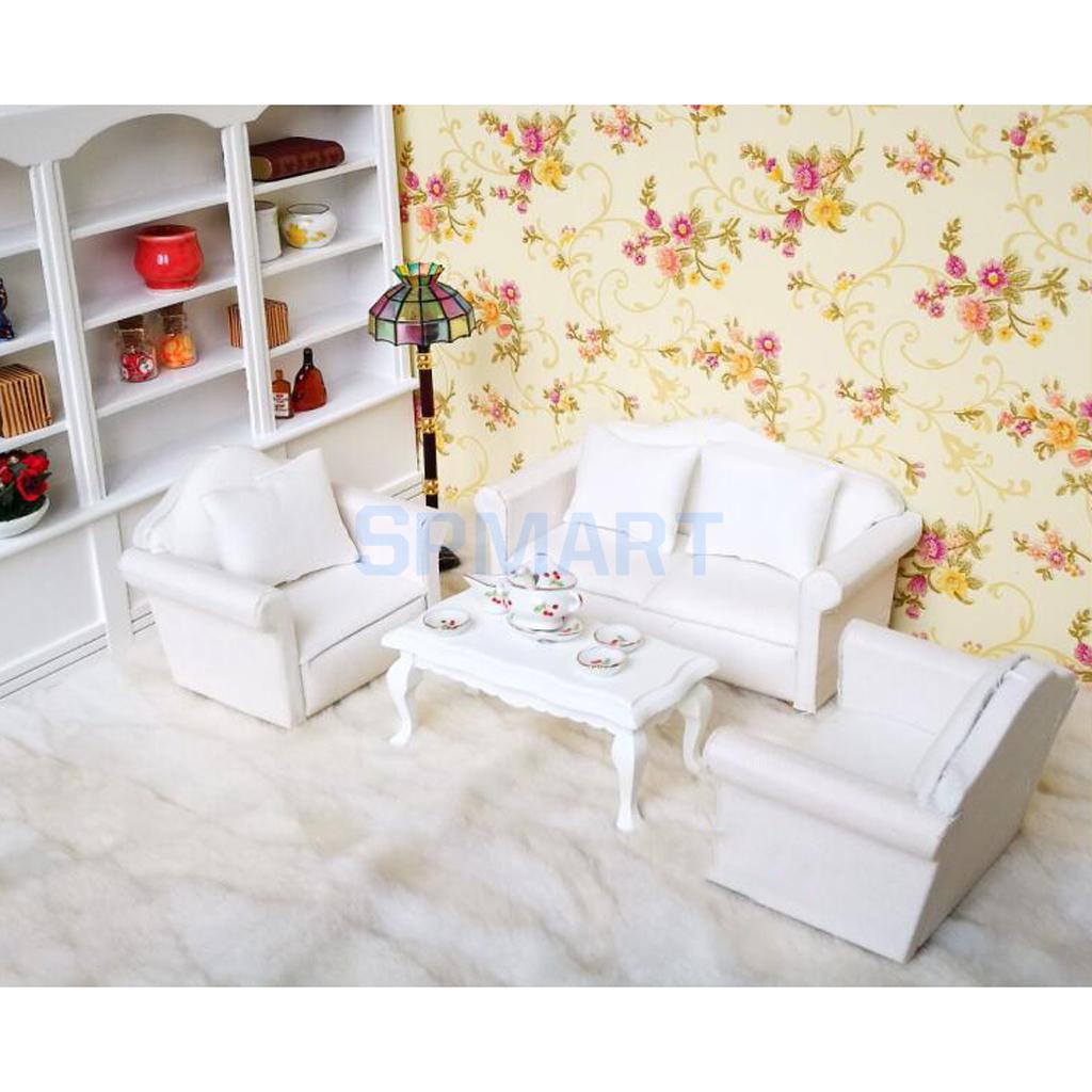 1/12 Scale Dollhouse Living Room Furniture Seat Sofa and Cushion Set ...