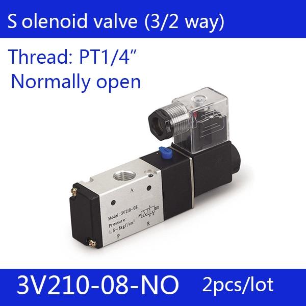 2PCS Free shipping good qualty 3 port 2 position Solenoid Valve 3V210-08-NO normally open,have DC24v,DC12V,AC110V,AC220V 2pcs free shipping good qualty 3 port 2 position solenoid valve 3v110 06 nc normally closed 3 2way 1 8 dc12v dc24v ac220v