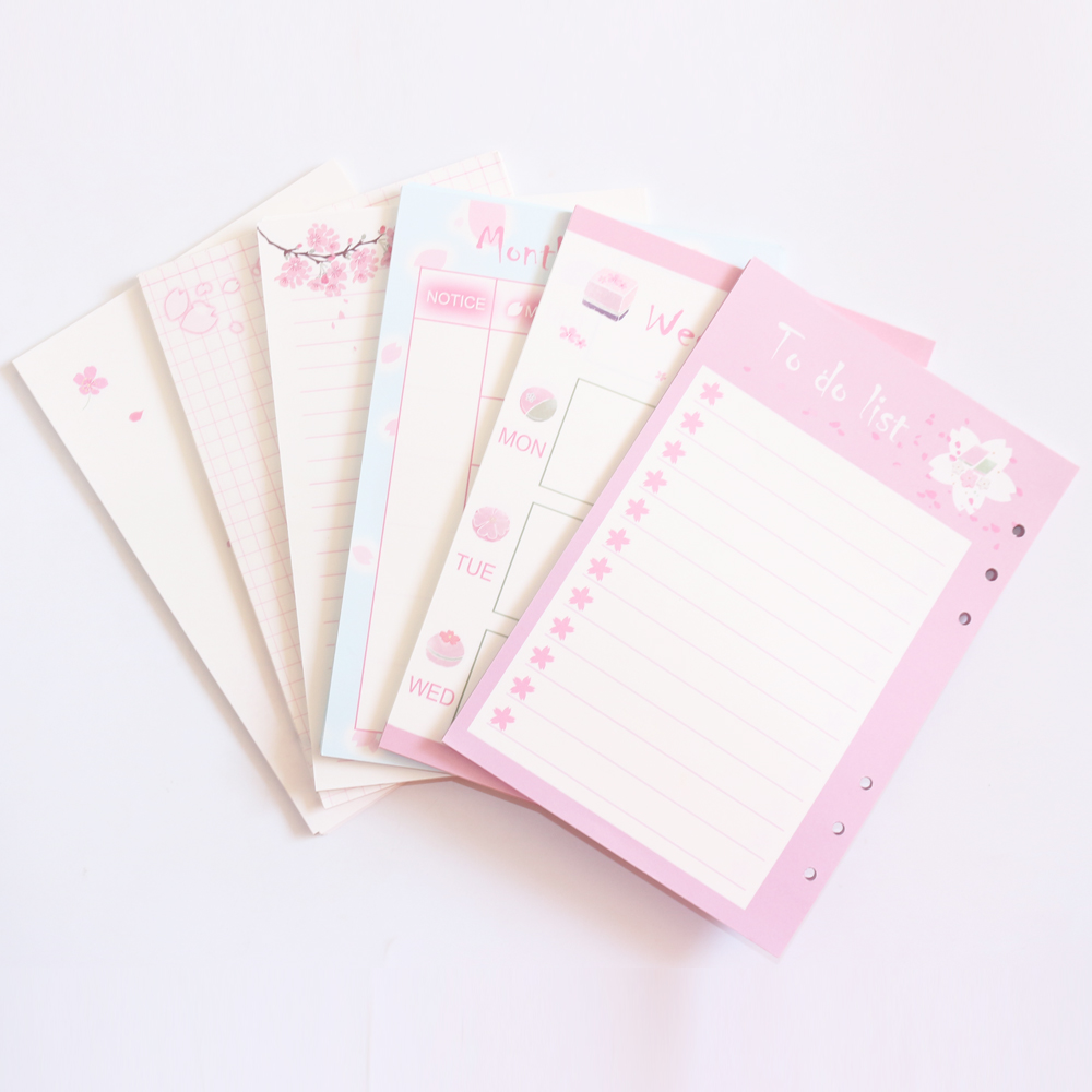 Domikee lindo 6 agujeros relleno interior de núcleo de papel para espiral planificador cuadernos: lista semanal mensual planificador línea de red A5A6